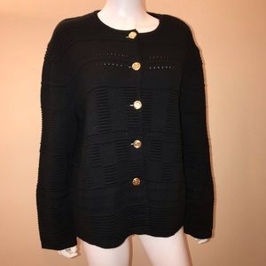 Rodier Black Cardigan Sweater Wool Blend